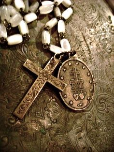 French rosary and medal