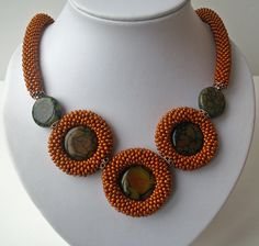 Caramel Bead Crochet Rope with Agat Stone