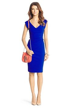 d68079bf8e Bevin Ceramic Ruched Sheath Dress in Blue Diamond by DVF