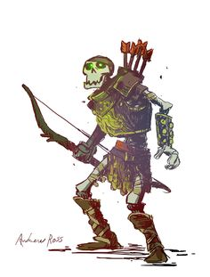 tinyfortress: Skeletons were always a favorite D&D encounter of mine, especially those pesky archers. So without further ado, a Skeletal Archer. Game Character Design, Character Design References, Fantasy Character Design, Character Design Inspiration, Character Concept, Character Art, Monster Concept Art, Monster Art, Dnd Characters