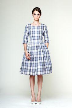 Edith Blue Tartan Dress by Mrs Pomeranz L 1X by mrspomeranz