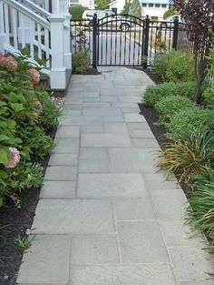 Curved Paver Walkway | pavers-ep-henry-devonstone-tennyson-green-slate-in-a-random-pattern