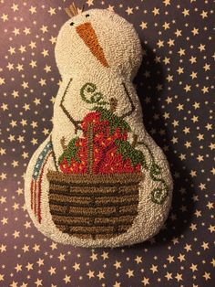Primitive Needle Punch Pattern-Summertime Americana Snowman-Basket Of Strawberries: