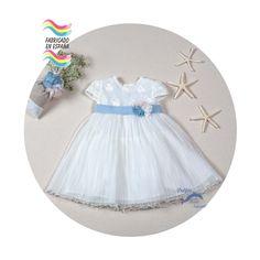 Vestido de bebe bautizo ARTESANIA AMAYA tul plisado modelo 97020 (BAJO PEDIDO)