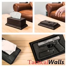 Tissue Box Hidden Gun - Would be perfect for the camper or boat. I like the idea of this but accessible to children. Hidden Gun Storage, Secret Storage, Hidden Gun Safe, Hidden Weapons, Safe Storage, Tactical Wall, Tactical Gear, Hidden Compartments, Secret Compartment