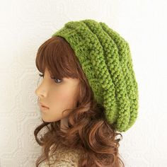 Hand knit slouch hat  green beehive hat or by SandyCoastalDesigns