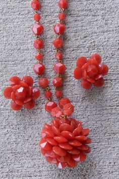 W Germany Rust Red FACETED LUCITE Pine Cone BALL Necklace & Earring