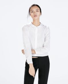 BLOUSE WITH PETER PAN COLLAR-Shirts-Tops-WOMAN | ZARA United States