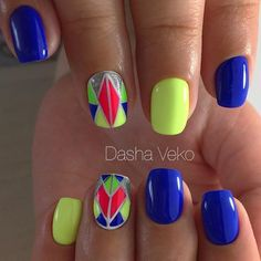 Vibrant Play of Geometry Nail Art. Combine your neons and make this one!