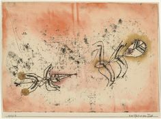 """Paul Klee. The Arrow before the Target (Der Pfeil vor dem Ziel). 1921. Oil transfer drawing and watercolor on paper on board. 9 3/8 x 12 1/2"""" (23.8 x 31.8 cm). John S. Newberry Collection. 376.1960. © 2016 Artists Rights Society (ARS), New York / VG Bild-Kunst, Bonn. Drawings and Prints"""