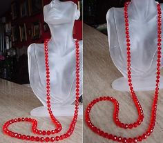 Red Round Faceted Crystal Necklace   46lg 117cm  by camexinc, $25.00