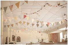 Paper Wedding Decor -   Flag Bunting, Oragami Cranes and Paper chain