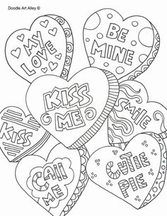 Valentines Day Coloring Pages - Doodle Art Alley Heart Coloring Pages, Pattern Coloring Pages, Free Printable Coloring Pages, Adult Coloring Pages, Coloring Books, Colouring, Coloring Sheets, Doodle Coloring, Funny Valentine