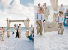 Dear Wesleyann | Rosemary Beach Wedding Photographer | Seaside Wedding Photographer | Alys Beach Photographer | Destination Wedding Photographer Carillon Beach Wedding/ Ring bearers/ Coral tie and suspenders/ And they lived happily ever after sign