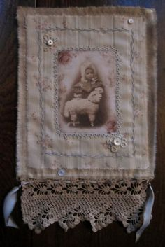 Vintage Lace Rosebud Ticking Mini Quilt Collage Sweet Girl Child with lamb
