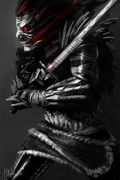 A samurai who has left the earthly realm and has turned into a demon of destruction Arte Ninja, Ninja Art, Ronin Samurai, Samurai Warrior, Dark Fantasy Art, Dark Art, Arte Lowrider, Samurai Wallpaper, Samurai Artwork