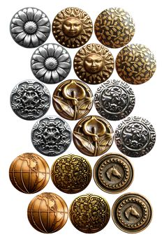 """Vintage Metal Buttons Bottle cap image pack Formatted for printing on 4"""" x 6"""" photo paper"""
