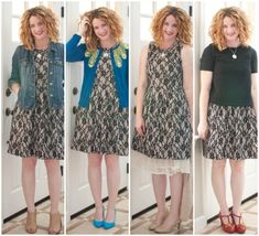 same dress, four ways. Love these. Do something similar with me lace dress? My faves are the last 2 on the right.