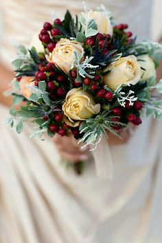 "{Gorgeous, ""Holiday"" Bridal Bouquet Featuring: Vanilla/Cream Cabbage Roses, Deep Red/Cranberry Hypericum Berries, Green Thistle, & Other Greenery/Foliage······················}"