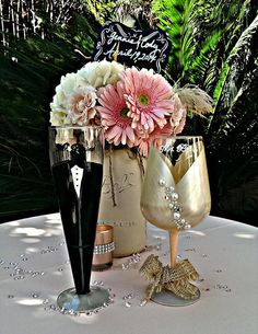 Country Chic toasting glasses by OC Glassware    Perfect for Country Chic themed weddings! can be personalized for bridesmaids with names, dates,
