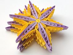 Snowflakes Yellow Purple Christmas Tree Decoration Winter Ornaments Gifts Toppers Fillers Office Corporate Paper Quilling Quilled Art These are unique handmade quilled snowflakes! Amazing Christmas gift for Your loved ones and suitable for all winter occasions. You can hang it on Christmas tree, use as fridge magnet, decorate Your bookshelf, dinner table or put it in lovely frame. Also can make an excellent addition to Christmas presents! This listing is for 3 snowflakes. Dimensions of one…