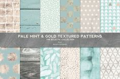 Pale Mint, Gold Foil & Watercolor Textured Printable Paper Digital Scrapbook Patterns for DIY Weddings, Crafts and Graphic Design Projects