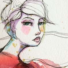 Pen and watercolour.... Gazing of into the mid-distance...