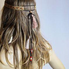 Boho Headband, tassel, Hair Band, bohemian, headpiece, Headband, For... ($27) ❤ liked on Polyvore