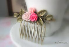 Bridal Hair comb Vintage Antique Roses Hair by WhiteTeapot on Etsy, $32.00