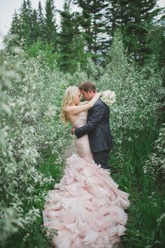 Gorgeous Forest Wedding Portraits | Janine Deanna Photography | Glamorous Pink and Gray Mountain Wedding with a Blush Wedding Dress