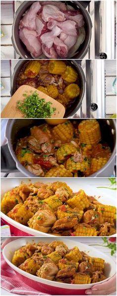 Frango de panela de pressão é rápido e muito bom! #frango #milho #rapido #receita #gastronomia #culinaria #comida #delicia #receitafacil