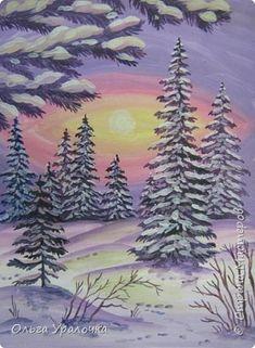 Картина панно рисунок Мастер-класс Рисование и живопись Пейзаж Зимнее утро Бумага Гуашь фото 1
