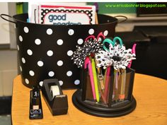 Reading table supplies - Erica's Ed-Ventures: Black & White Polka Dot Plus Brights Classroom Reveal