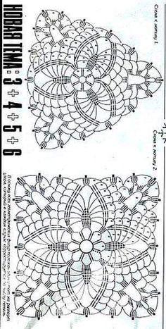 Crochet Bedspread Pattern, Crochet Motif Patterns, Filet Crochet Charts, Crochet Blocks, Crochet Diagram, Crochet Squares, Crochet Granny, Crochet Stitches, Crochet Tablecloth