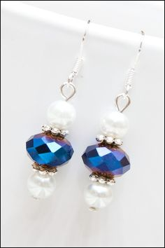 Metal Royal Blue Faceted Glass Crystal and Imitation by cfingram, $4.00