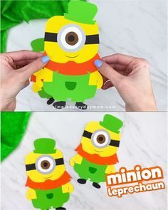 Searching for a fun and easy St Paddy's day craft for kids to make? This leprechaun minion craft is a fun paper craft to make at home or at school. It comes with a free printable template so it's easy enough to make with preschool, kindergarten and elementary children.   #simpleeverydaymom #stpatricksdaycrafts #kidscrafts