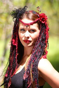 headdress goth faery dready wig burningman festival wear goddess gypsy belly dance burlesque fantasy www.etsy.com/shop/lotuscircle
