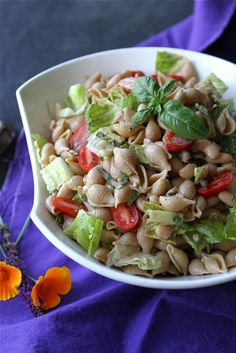 Whole Wheat Pasta Salad Recipe with Beans, Capers & Balsamic Yogurt Dressing by @Cookin' Canuck Dara Michalski