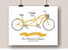 Tandem Bicycle Art  Personalized Wedding Gift by VerbosePrints