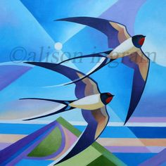 Swallows Image Size 30 x 30 cm Oil on Canvas SOLD  Contact Alison about this painting Back to Gallery