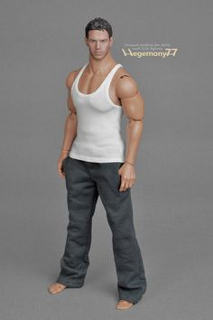 1/ 6th scale XXL white low cut singlet / sleeveless shirt / A-shirt / tank top for Hot Toys TTM 20 and similar advanced muscular male dolls and action figures