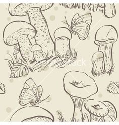Seamless texture contour of white mushrooms autumn vector - by Nearbirds on VectorStock®