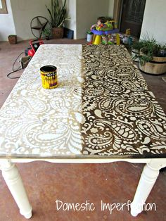 I know I have pinned this table more than once already - I LOVE THIS!!! Paisleys are my favorite anyway - and I love the combo of wood grain and white - I really want to do this. paisley allover stencil