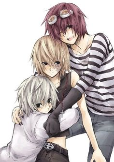 Near (Bottom), Mello (Middle), Matt/Mail (Top. And Mail is pronounced as Mile) Anyone can have Near and Mello. I'm keeping Matt ._.