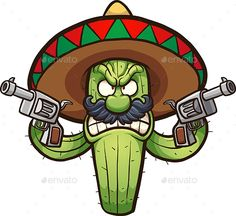 Angry Cactus by memoangeles Angry Mexican cactus. Vector clip art illustration with simple gradients. All in a single layer. Cactus Drawing, Cactus Painting, Kaktus Illustration, Illustration Art, Angry Cactus, Logo Animal, Cactus Vector, Cactus Tattoo, Graffiti Characters