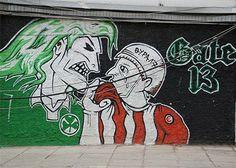 Football culture: Graffiti is the art of the sport on the streets Ultras Football, As Roma, Football Soccer, Wall Murals, Graffiti, Street Art, Neon Signs, Culture, Gate