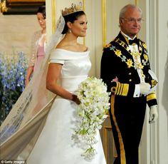 swedish princess wedding   Crown Princess Victoria is led into the church by her father King Carl ...