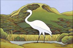 Kotuku, Puketotara III by Don Binney, NZ. Acrylic & graphite on board. (2006).