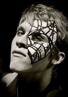 Arachnophobia - Spider Web Men's Masquerade Mask in Grey and Black Papier-Mache (Paper Mache)