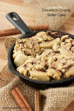 gluten free cinnamon crumb skillet cake #Krusteaz